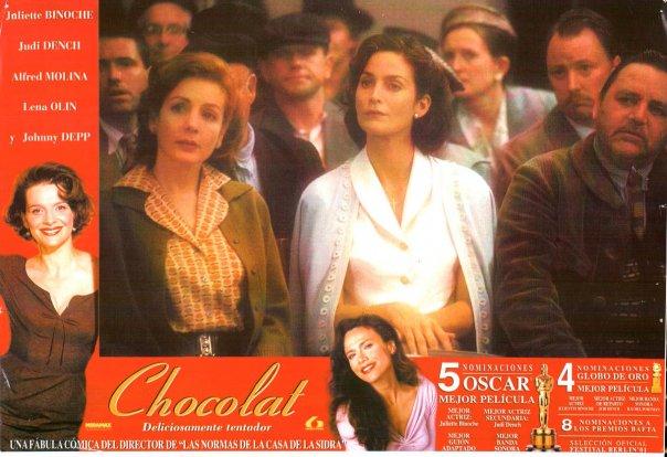 Chocolat poster: Juliette Binoche, Hélène Cardona, Carrie-Anne Moss and Lena Olin